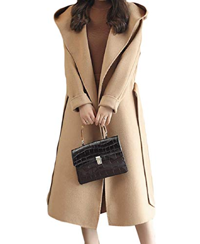 Belted Print Trench Coat (CuteRose Women Turn-down Collar Fall Winter Classy Belted Long Trench Coat Camel L)