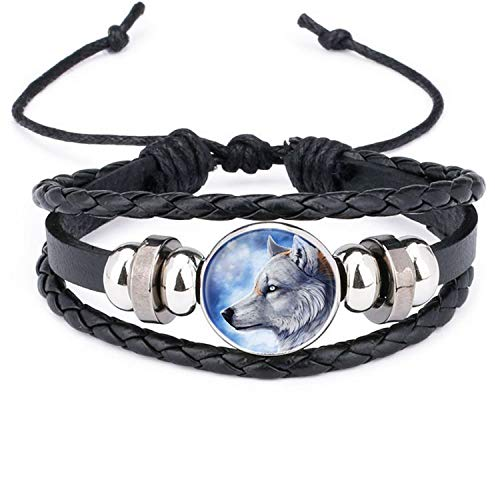 Armband Armreif,Schmuck Geschenk, Retro Style Leather Jewelry with Glass Cabochon Moon Wolf Pattern Beaded Charm Wrap Bracelet Bangles for Men Women Gift WS0645