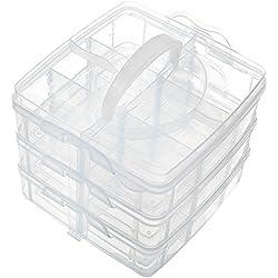 Sungpunet Boîte de rangement à 3étages réglable avec 18compartiments