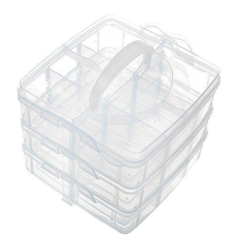 sungpunet 3Ebenen verstellbar Bead Craft Schmuck Werkzeug Aufbewahrung Organizer mit 18Fächern Container Box (Storage Box Werkzeug-organizer)