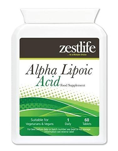 Zestlife acide alpha-lipoïque 200mg 60 comprimés Ce puissant antioxydant favorise l'énergie cellulaire normale , défend les cellules contre les dommages oxydatifs casued par les radicaux libres