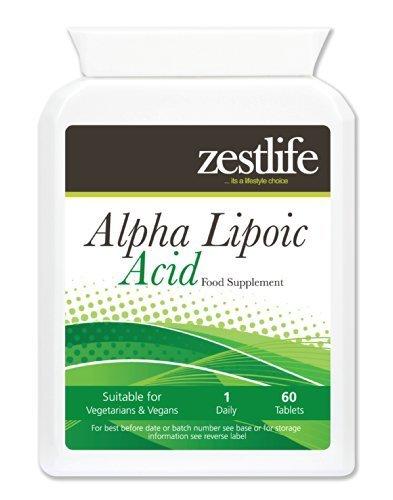 Zestlife Alpha-Liponsäure 200mg 60 Tabletten Dieses starkes Antioxidans, fördert die normale Zellenergie , verteidigt Zellen vor oxidativen Schäden durch freie Radikale casued (Alpha-liponsäure-tabletten)