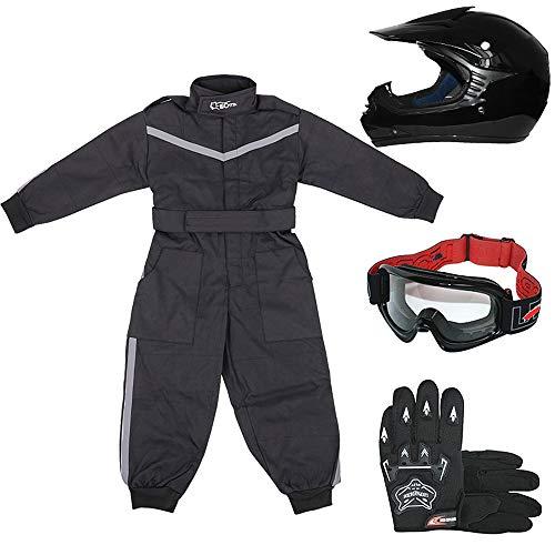 Leopard LEO-X15 Schwarz Kinder Motocrosshelme Motorradhelm (S 49-50cm)+ Handschuhe (S 5cm) + Brille + Kinder Motocross Anzug - S (5-6 Jahre alt) -