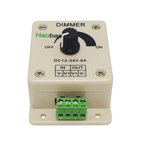 Haobase Regulador PWM para tira de iluminación LED 12 V-24 V 8 A