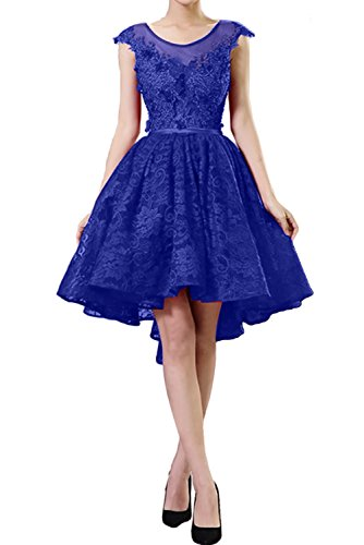 Ivydressing Damen Elegant Abendkleider Kurz Spitze Ballkleid Festkleid Cocktailkleider Royalblau