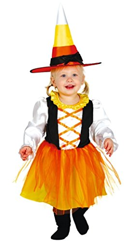 Baby Mädchen Candy Corn Hexe Halloween Kostüm Kleid Outfit 6 Monate - 2 Jahre - Orange, 12-24 Months