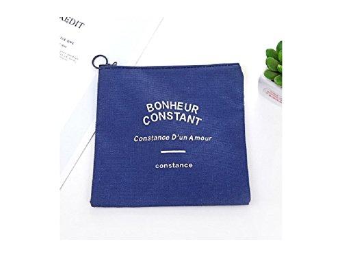 Décor de cheveux Trousse de maquillage de mode Sac de toilette de voyage pour femme Sac de rangement portatif avec fermeture à glissière (bleu marine) Cadeau de mariée
