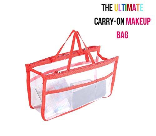 Ducomi Beauty Case Trasparente da Donna per Make Up - 28 x 16,5 x 10 cm - Trousse Impermeabile e da Viaggio - Busta per Borsa con 8 Tasche Capienti per Trucchi, Cosmetici e Accessori (Red)