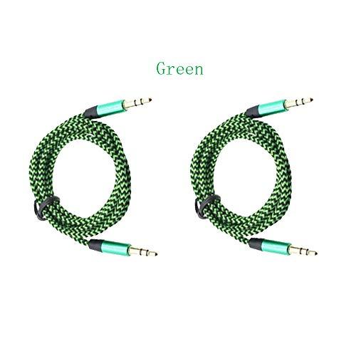 XiYu Audiokabel geflochtene Kabel 3,5 mm auf 3,5 mm Auxiliary AUX Wire Stereo Car (2 Stück) grün Car Stereo Wire Adapter
