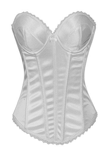 Damen Basque Vollbrust Shapewear Korsett Corsage Top Schwarz Weiß (Euro Size(36-38)L, Weiß)