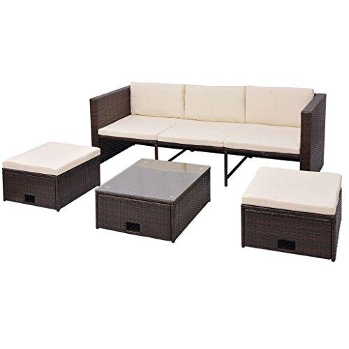 Preisvergleich Produktbild vidaXL Gartensofa Garnitur 12-tlg. Poly Rattan Braun Gartenmöbel Sitzgruppe