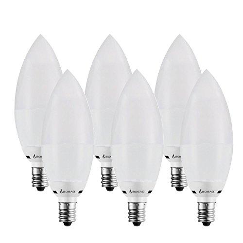 Bogao 7W E14Ampoule LED Chandelier, 60–70W Lumière lamps équivalent, 85–265V, Blanc lumière du jour LED bougie ampoules, 700lumens Lampes LED, forme de torpille, variateur d'intensité (6000K, 6pcs, RB), blanc chaud, E14, 7.00 wattsW 230.00 voltsV