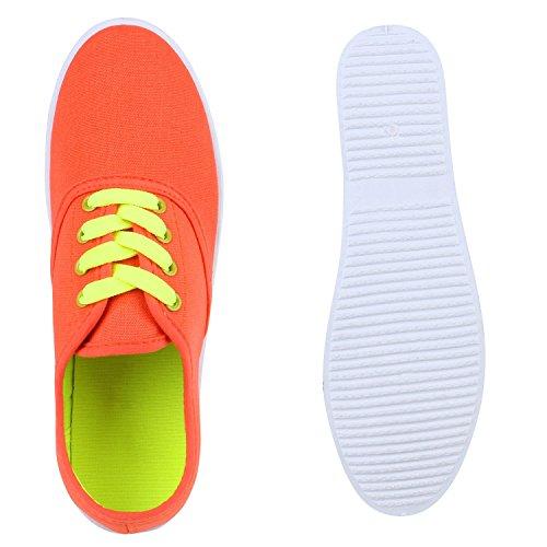 Damen Sneakers Stoff Sneaker Low Muster Basic Schuhe Animal Print Freizeit Turnschuhe Schnürer Flandell Orange Neongelb