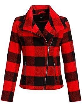Negro de color rojo cuadros Mujer Moto Chaqueta de invierno