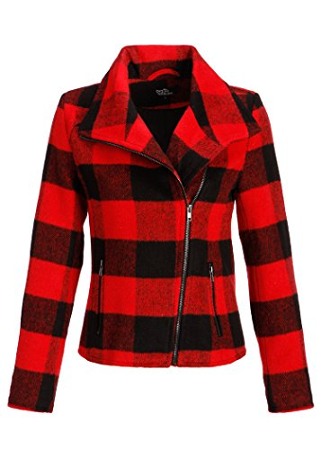 Motif à carreaux Noir/rouge moto Veste d'hiver Femme Noir - Noir