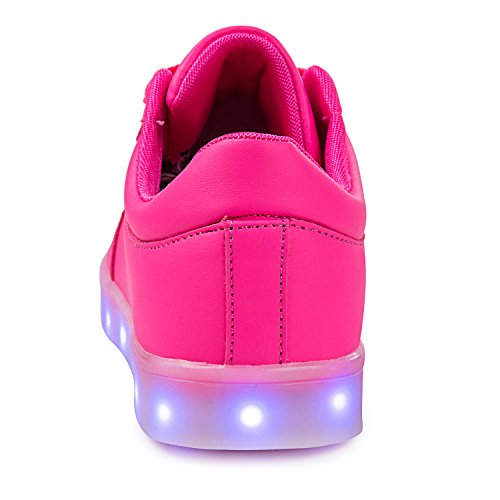 SGoodshoes Enfants Garçons Filles LED Lumineux Clignotante Baskets Chaussures Sneakers Chaussures USB Rechargeable Rose 3