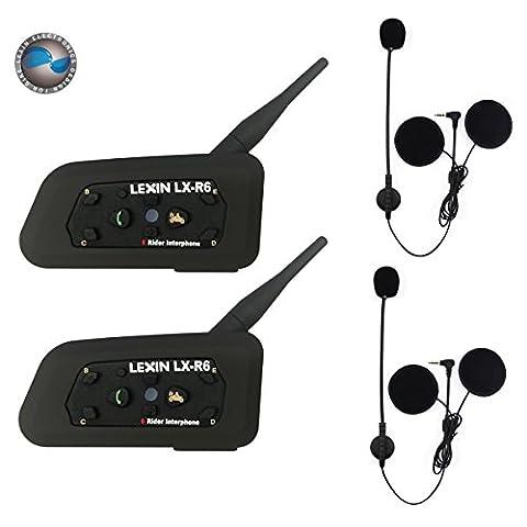 2 x LEXIN LX-R6 Bluetooth Motorrad Intercom Helm Communicator Headset, 1000m Reichweite 6-Fahrer Interphone, Bedienungsanleitung in Deutsch