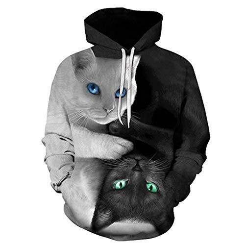 Vollen Creed Kostüm Assassin's - Pullover Männer Kapuzenpullover Zwei Katzen-3D-Druck Hoody Lässige Pullover Street Tops Regular Hipster Hip Hop LMWY-243 4XL