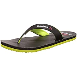 Reebok Men's Advent Black and Neon Yellow Flip Flops and House Slippers -8 UK/India (42 EU) (9 US)