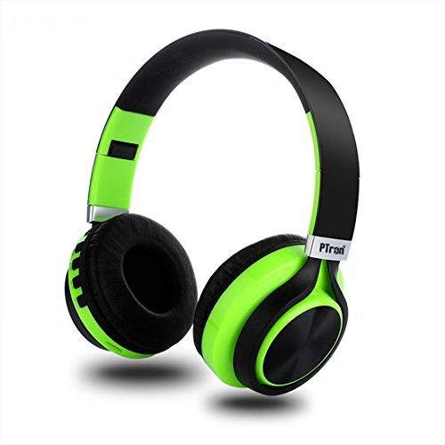 PTron Kicks Wireless Bluetooth, Wired Headphones (Green, On Ear)