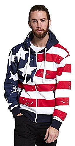 Mens Ladies American USA Stars and Stripes-Kapuzenshirt mit Reißverschluss Größe Small to XXL (Klein, Rot / Blau / Weiß - Zip Hoddie)
