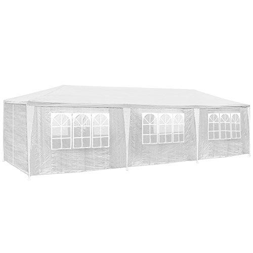 TecTake 800085 Pavillon Partyzelt Gartenzelt Eventpavillon 3x9m 9x3m + 8 Seitenteile - Diverse Farben - (Weiß | Nr. 400934)