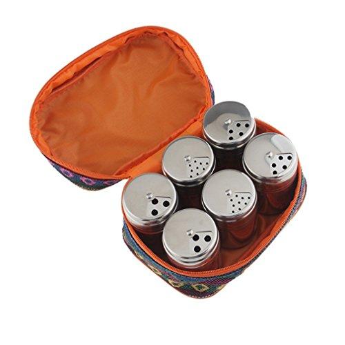 MKNzone Set di 6 barattoli di spezie, contenitori di spezie multiuso in acciaio inox per la conservazione di spezie e condimenti per cucina in cucina e barbecue
