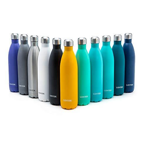 LONTEK Vakuum Isolierte Edelstahl Trinkflasche 750ml-BPA Frei Wasserflasche Auslaufsicher - für das Laufen, Fitness, Yoga, Im Freien und Camping