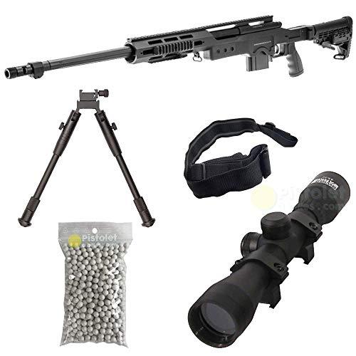 Paquete Completo con Accesorios - Arma para Airsoft, Swiss Arms Modelo S.A.S 12 Sniper, con Resorte, 0,5 Julios, Color Negro, Recarga Manual