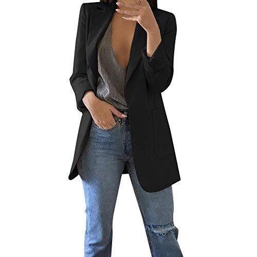 Damen Elegante Blazer MYMYG Sakko Einfarbig Slim Fit Vorne Offnung Tasche Tailliert Geschäft Büro Kurzjacke Jacke Mantel Herbst Winter Langarm Cardigan(Schwarz,EU:40/CN-XL)