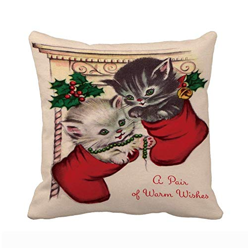 Merry Christmas Throw Pillow Case Calcetín Stocking Cute Kitty Pet Warm Wishes...