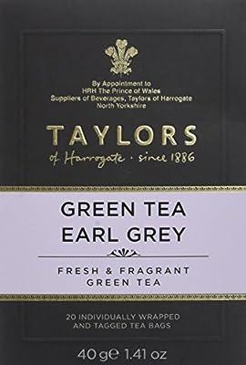 TAYLORS OF HARROGATE Thé Vert Earl Grey 20 Sachets 40 g - Lot de 6