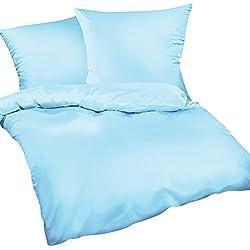 Heubergshop 2-Teilige Mako-Satin Baumwollsatin Bettwäsche 135x200cm und 80x80cm - Einfarbig Uni Blau Hellblau - 100% Baumwolle