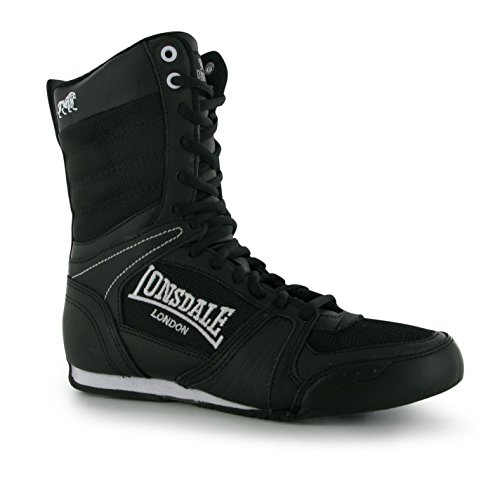 Lonsdale Junior Contender Boxing Stiefel Mid Schnürschuhe Sport Boxen Schuhe Schwarz/Weiß 5 (38) (Gesteppte Keil Stiefel)