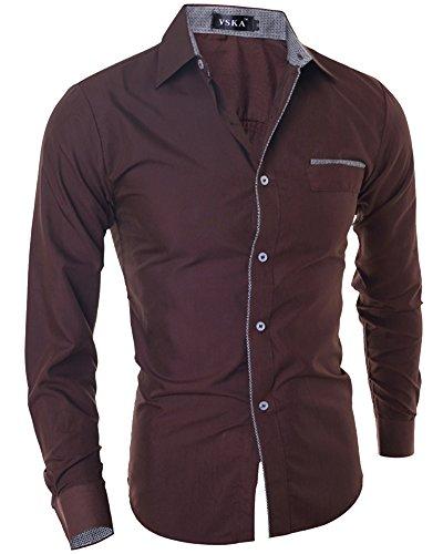 Chemises Homme Casual Shirt Tops Men Slim Fit Manches Longues Habillee Chemise 5033 Café