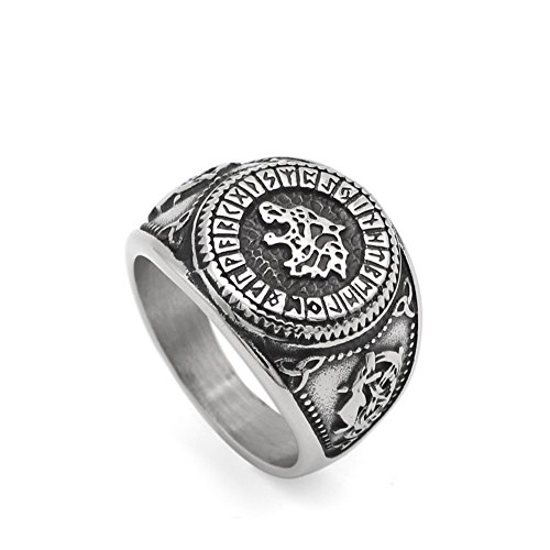LoveInDec Men Norse Viking Odin's Wolf Rune Vantage Ring Stainless Steel with Gift Bag