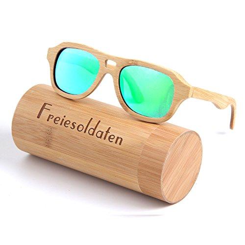 Freiesoldaten Hombres Mujeres Polarizado Gafas de madera Vendimia Glare-Free Lenses Gafas Bambú Gafas de sol con Caja de Bambú
