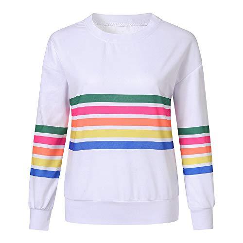 (iHENGH Karnevalsaktion Weihnachten Damen Frauen-beiläufige Lange Hülsenstreifen-Druck-Pullover-Blusen-Hemd-Sweatshirt(M,Weiß))