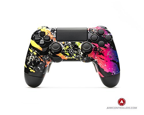 PS4 Slim DualShock 4 PlayStation 4 Wireless Controller - Custom AimController Camo Color with 4 Paddles. Upper Left Triangle, Lower Left X, Upper Right Square, Lower Right O
