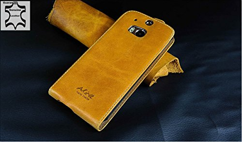 Original Akira Hand Made [Echt Leder] Handyhülle HTC One 2 M8 Cover Handgemacht Case Schutzhülle Etui Flip Wallet Pen [DEUTSCHER FACHHANDEL] Braun