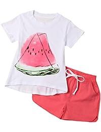 2017 Verano Niña Pequeña sandía impresión Camisetas de manga corta + Pantalones cortos
