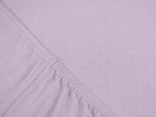 npluseins klassisches Jersey Spannbetttuch - erhältlich in 34 modernen Farben und 6 verschiedenen Größen - 100% Baumwolle, 90-100 x 200 cm, flieder - 4