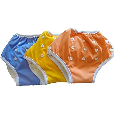 Pannolini abbottonati a mutandina Three Little Imps per bambini ai primi passi con peso-giallo/viola/arancione-set di 3