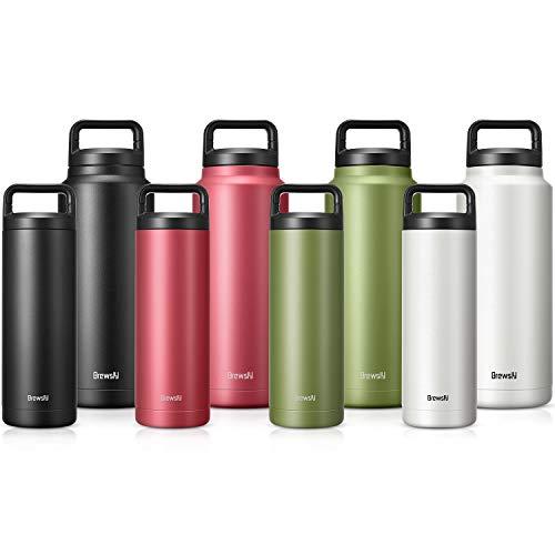 Brewsly bottiglia termica, termos caffe in acciaio inossidabile isolamento sottovuoto a doppia parete, processo di verniciatura a polvere, 1000ml, verde