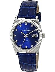 Peugeot3045BL-Reloj de pulsera para mujer de color plata con correa de piel de color azul