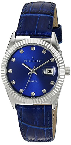 peugeot-womens-quartz-metal-and-leather-dress-watch-colorblue-model-3045bl