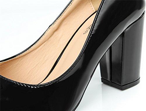 AgeeMi Shoes Damen Slip on Spitz Schließen Zehe PU Blockabsatz High Heels Pumps Schwarz