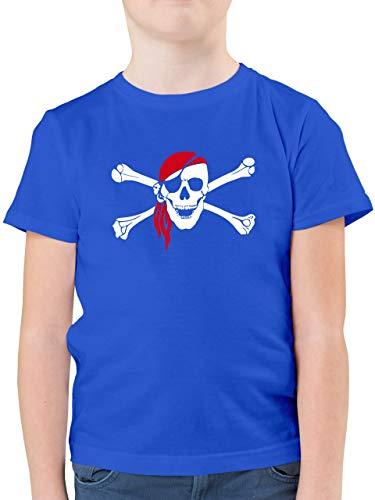 Bunt gemischt Kinder - Totenkopf Pirat Kopftuch - 140 (9/11 Jahre) - Royalblau - F130K - Kinder Tshirts und T-Shirt für Jungen -