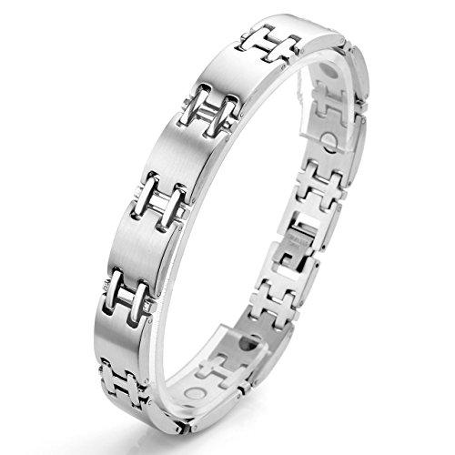 Zysta Edelstahl Schmuck Herren Magnetarmband 4 in 1 Magnettherapie Armband Gewölbt Magnetisches Armreif Silber