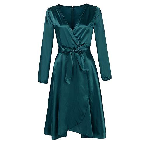 c480608c0c8645 Mode Womens wunderschönen Long Sleeve Solid Bogen Gürtel Verband  V-Ausschnitt Partykleid